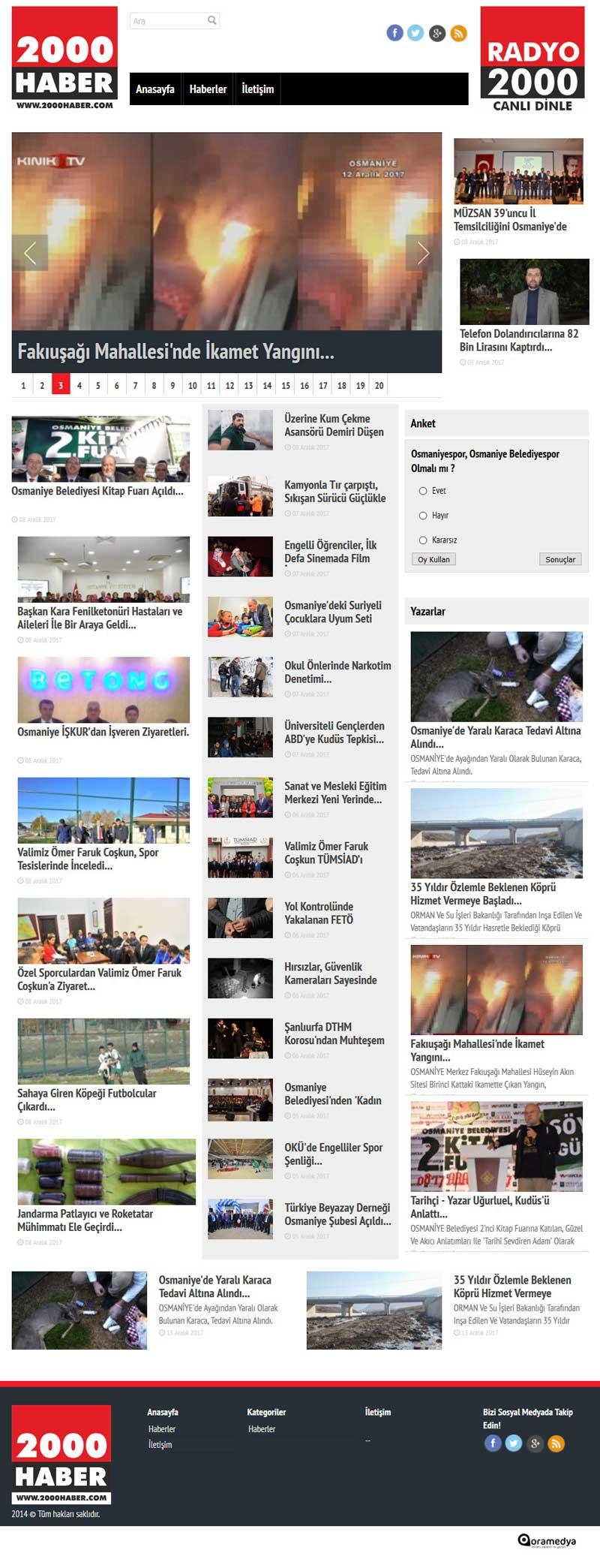 2000 Haber Sitesi Osmaniye Web Tasarımı