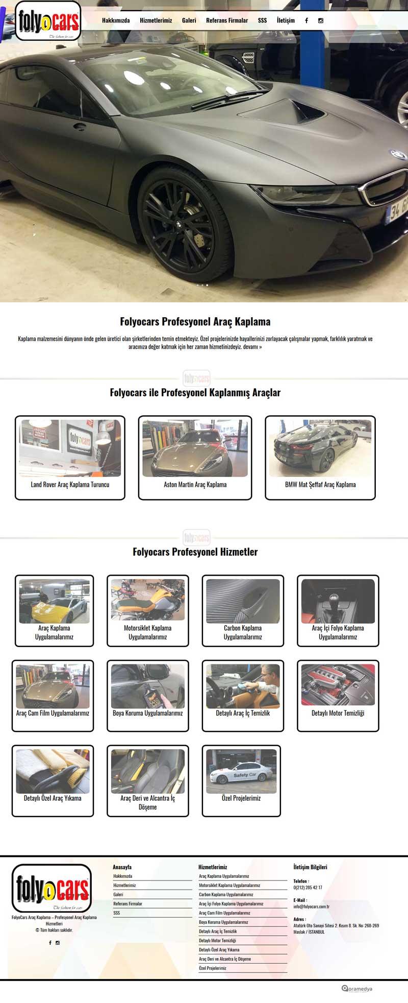 Folyocars Araç Kaplama İstanbul Web Sitesi Tasarımı
