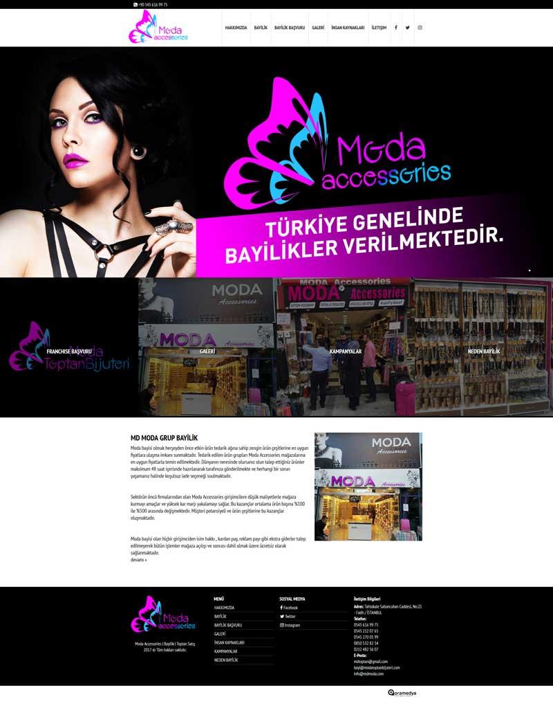 Moda Accessories Bayilik Toptan İstanbul Web Sitesi Tasarımı