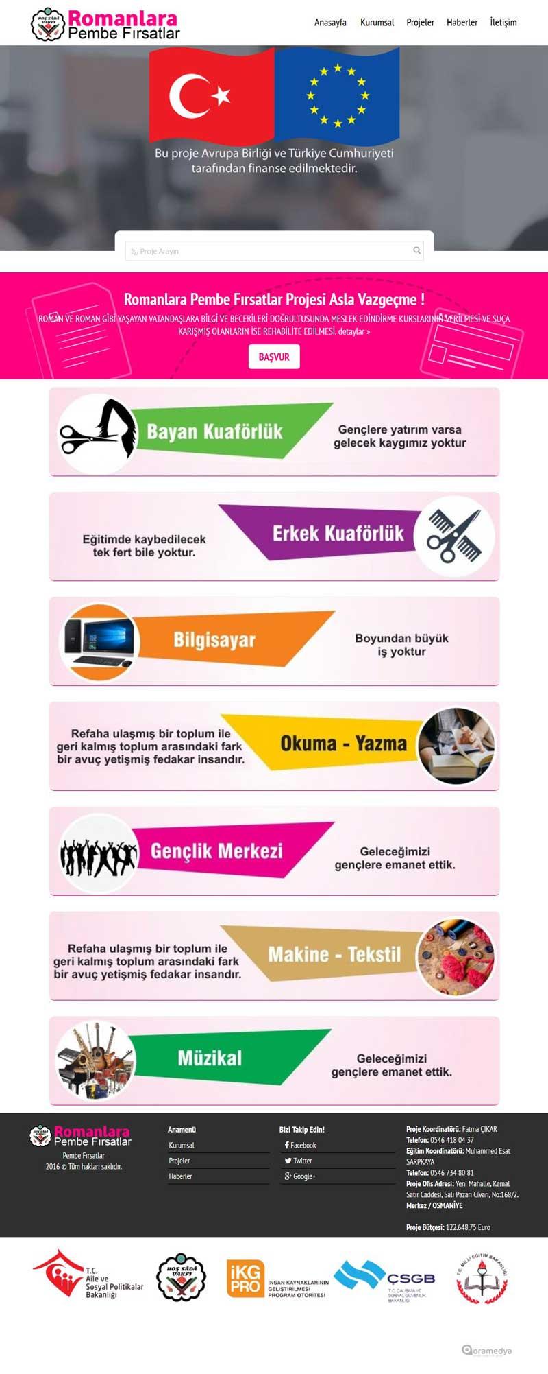 Romanlara Pembe Fırsatlar Projesi Osmaniye Web Tasarımı
