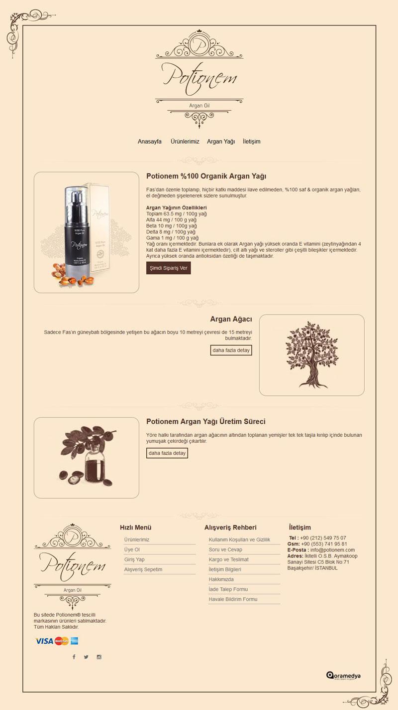 Potionem Argan Yağı e-Ticaret Web Tasarımı