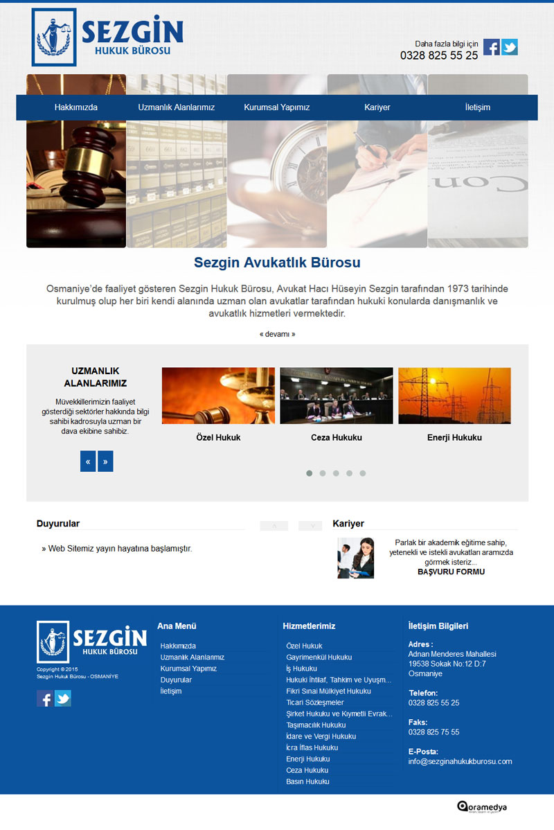Sezgin Hukuk Bürosu Osmaniye Web Tasarım