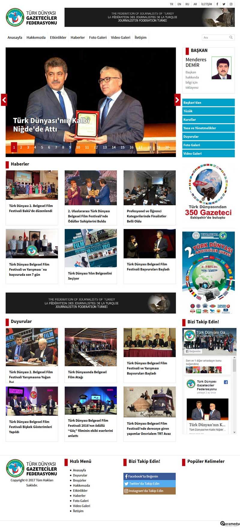 Türk Dünyası Gazeteciler Federasyonu Web Sitesi Tasarımı