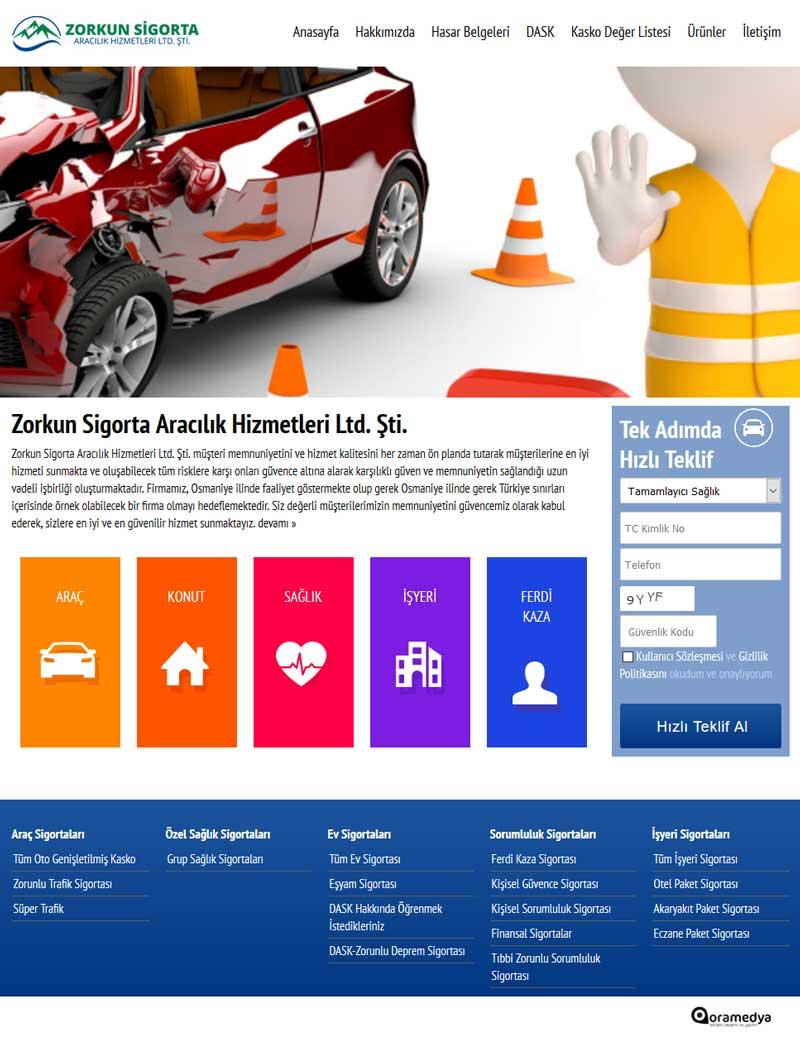 Zorkun Sigorta Aracılık Hizmetleri Osmaniye Web Sitesi Tasarımı