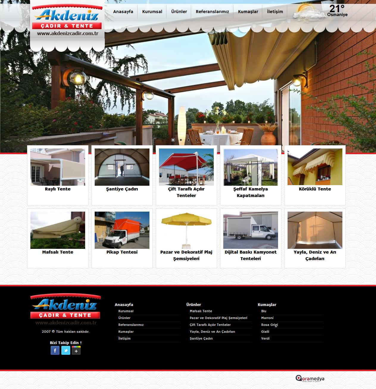 Akdeniz Çadırcılık ve Tente Osmaniye Web tasarım