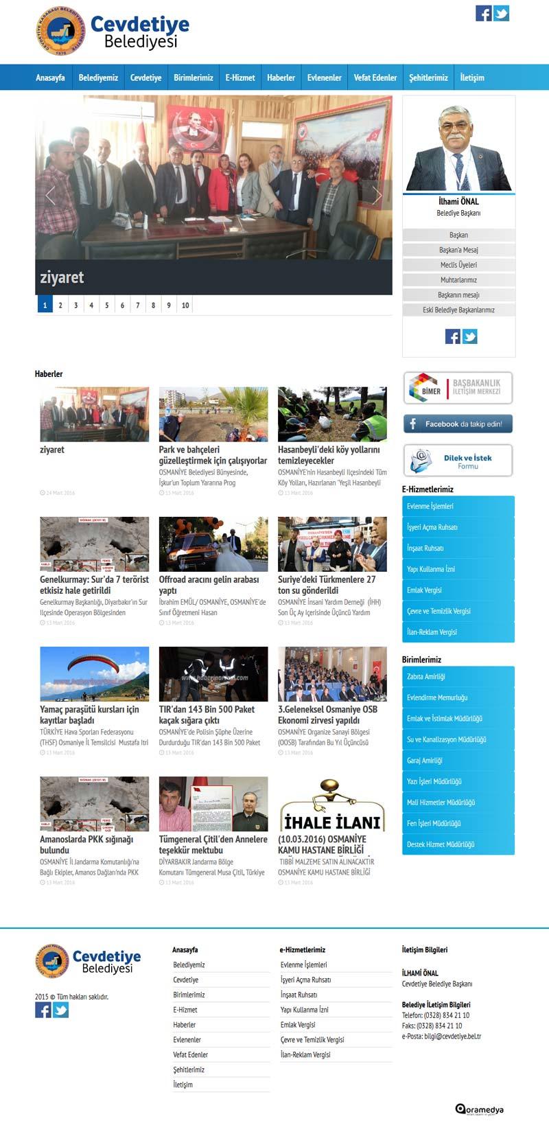 Cevdetiye Belediyesi Osmaniye Web Sitesi Tasarımı