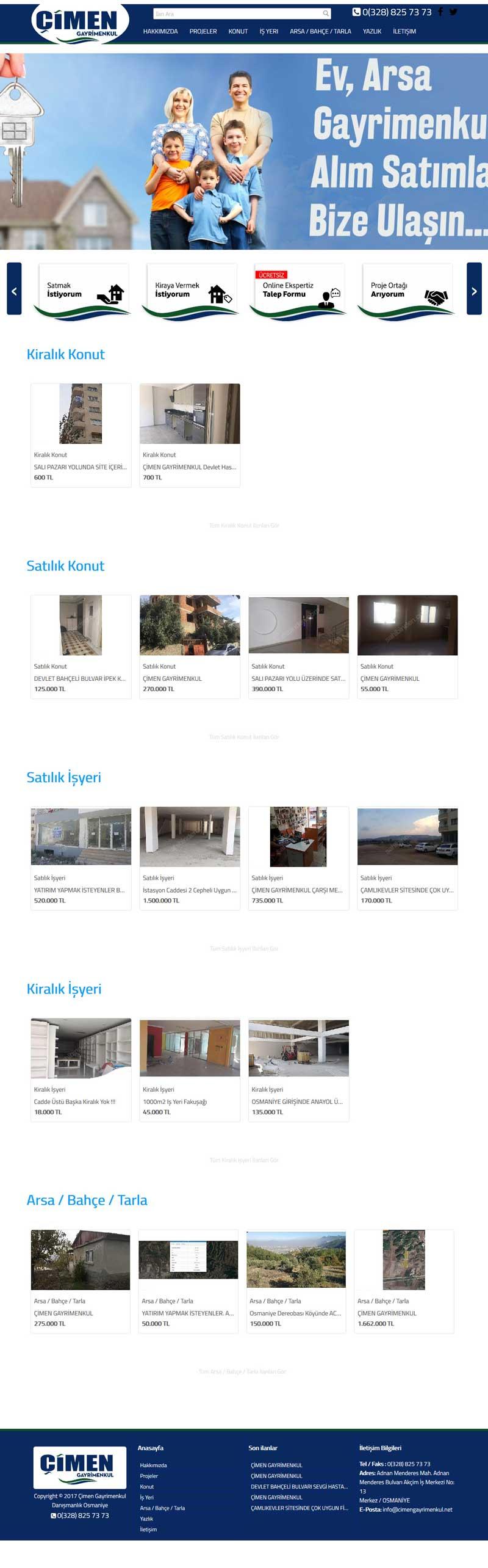 Çimen Gayrimenkul Osmaniye Web Sitesi Tasarımı