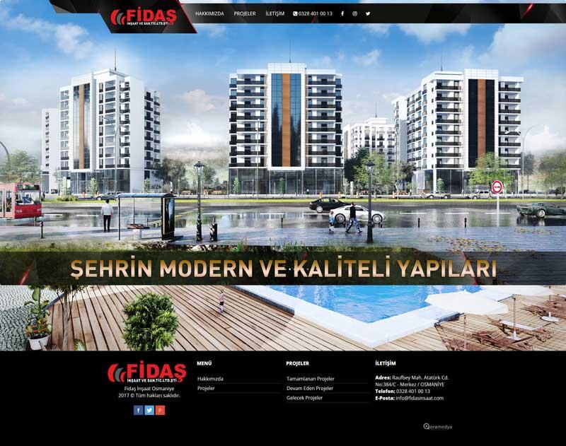 Fidaş İnşaat Osmaniye Web Sitesi Tasarımı