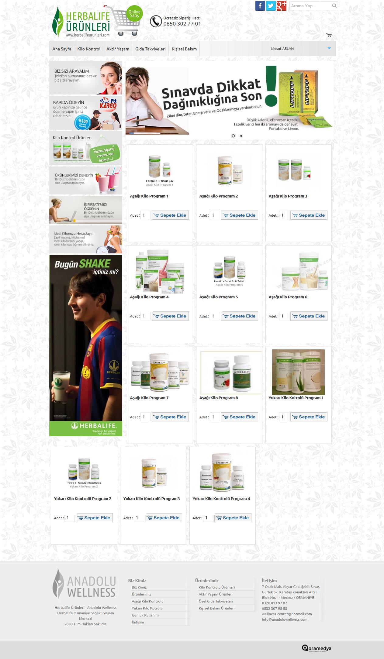 Herbalife Ürünleri Online Satış Sitesi Web Tasarım