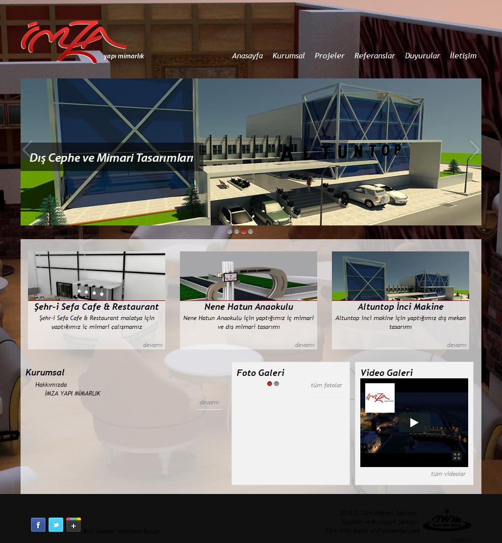İmza Yapı Mimarlık Malatya Web Tasarım