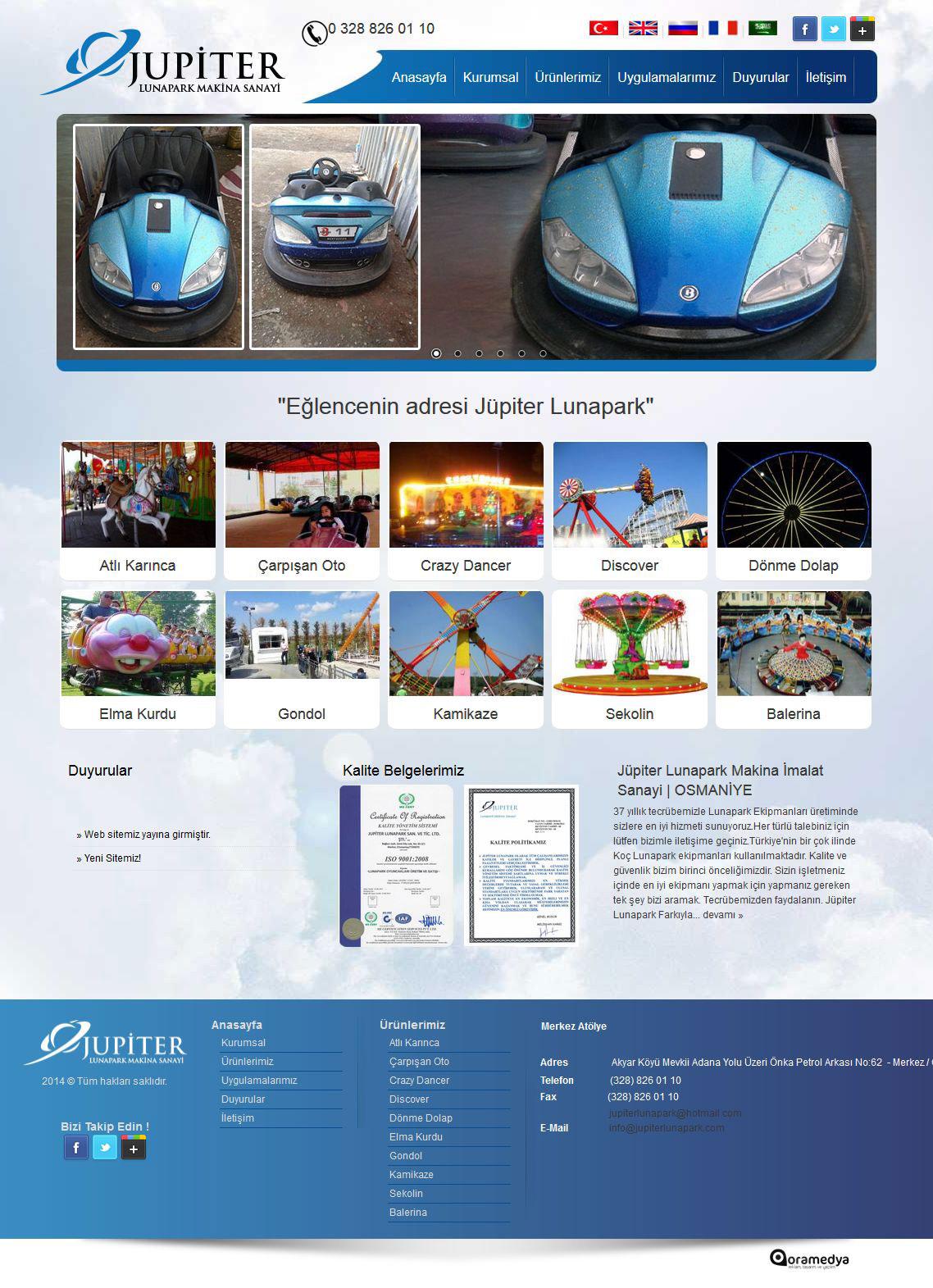 Jüpiter Lunapark Makina İmalat Sanayi Osmaniye Web Tasarım