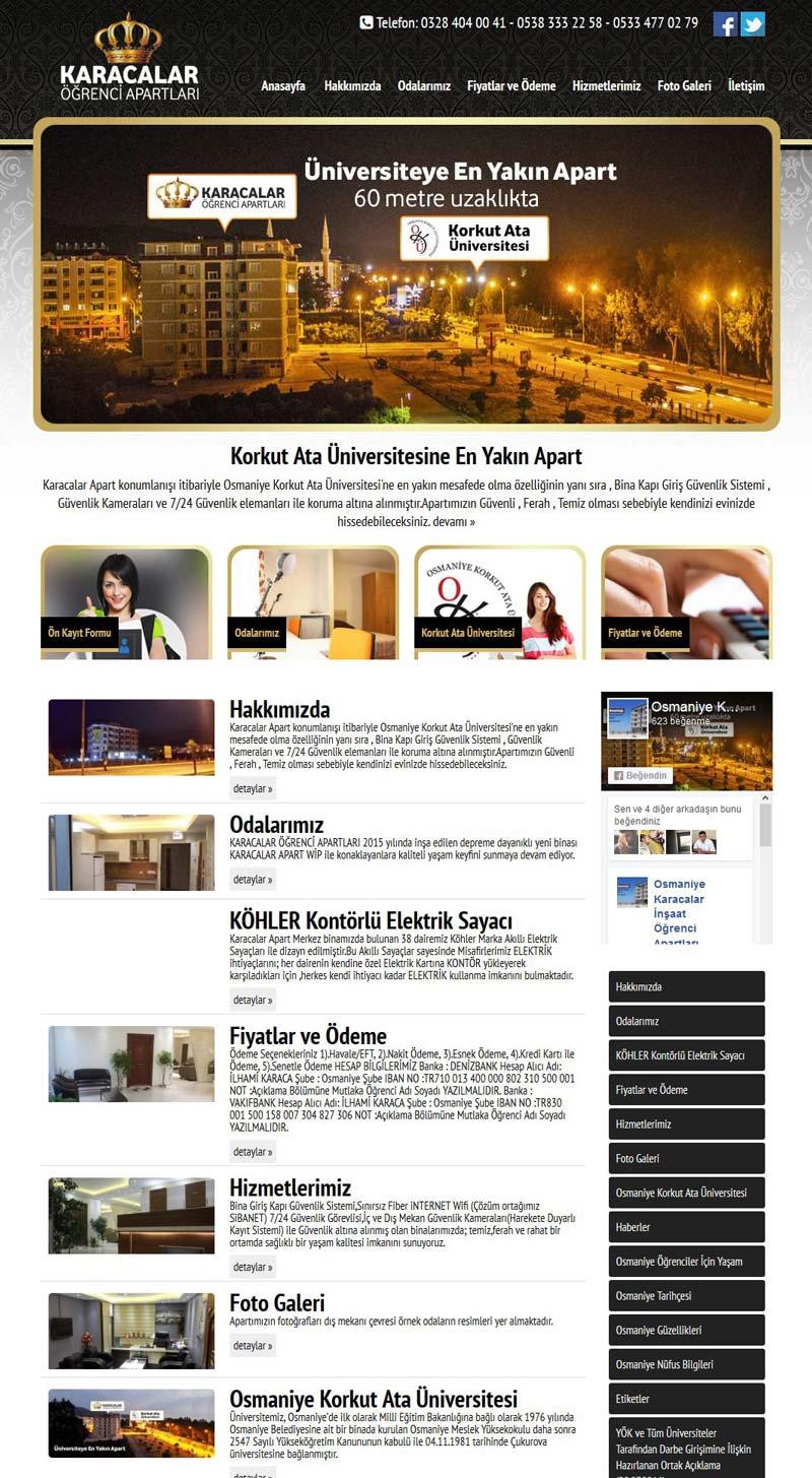 Karacalar Apart Osmaniye Web Tasarımı