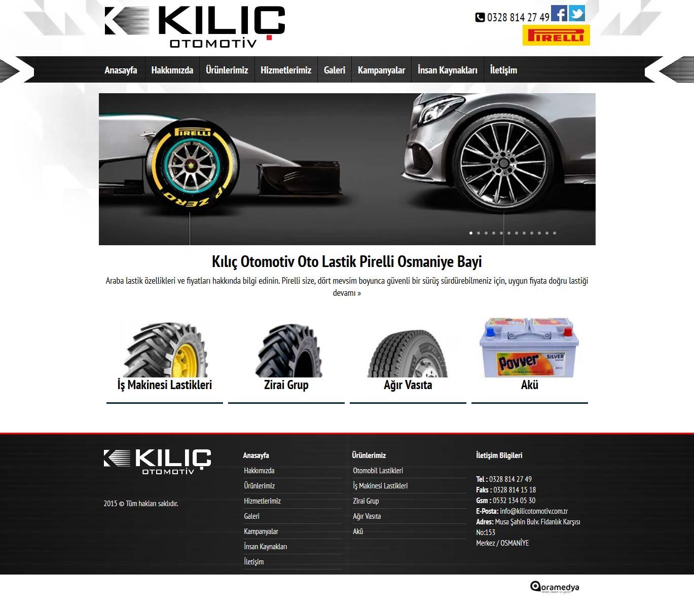 Kılıç Otomotiv Osmaniye Pirelli Lastik Bayi Web Sitesi Tasarımı