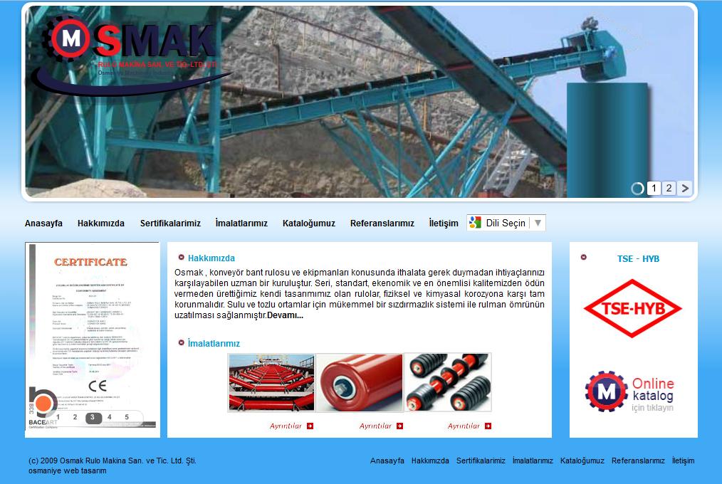Osmak Rulo Bant Konveyör Sistemleri Web Tasarım
