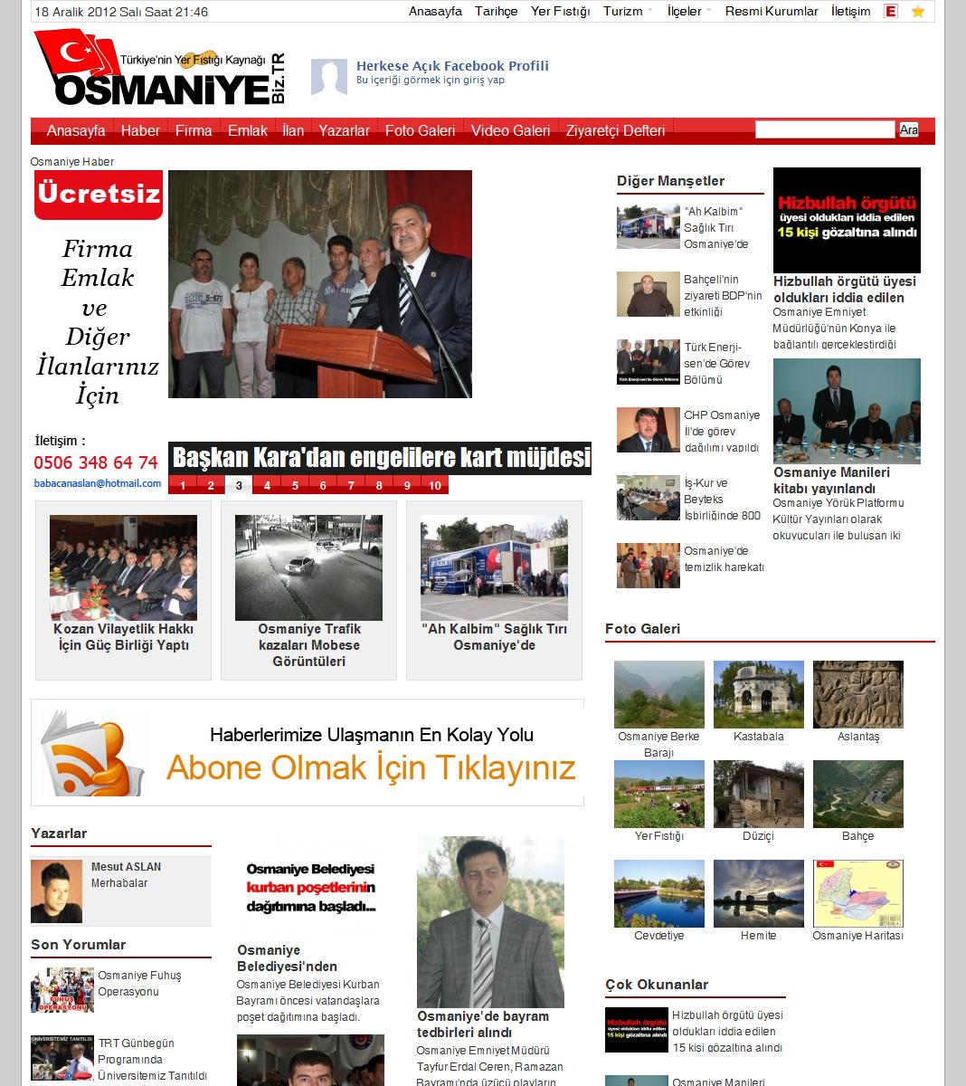 Osmaniye Şehir Portalı Web Tasarım