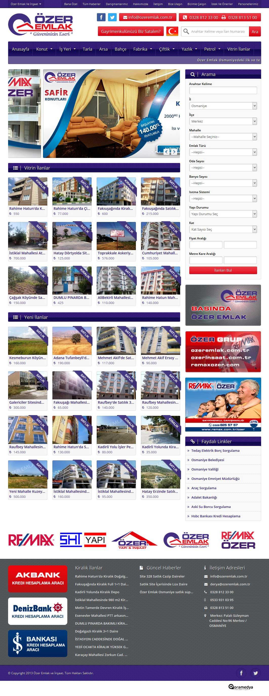 Özer Emlak Web Sitesi Tasarımı Osmaniye