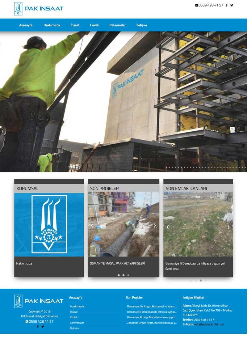 Pak İnşaat Emlak Osmaniye Web Tasarım