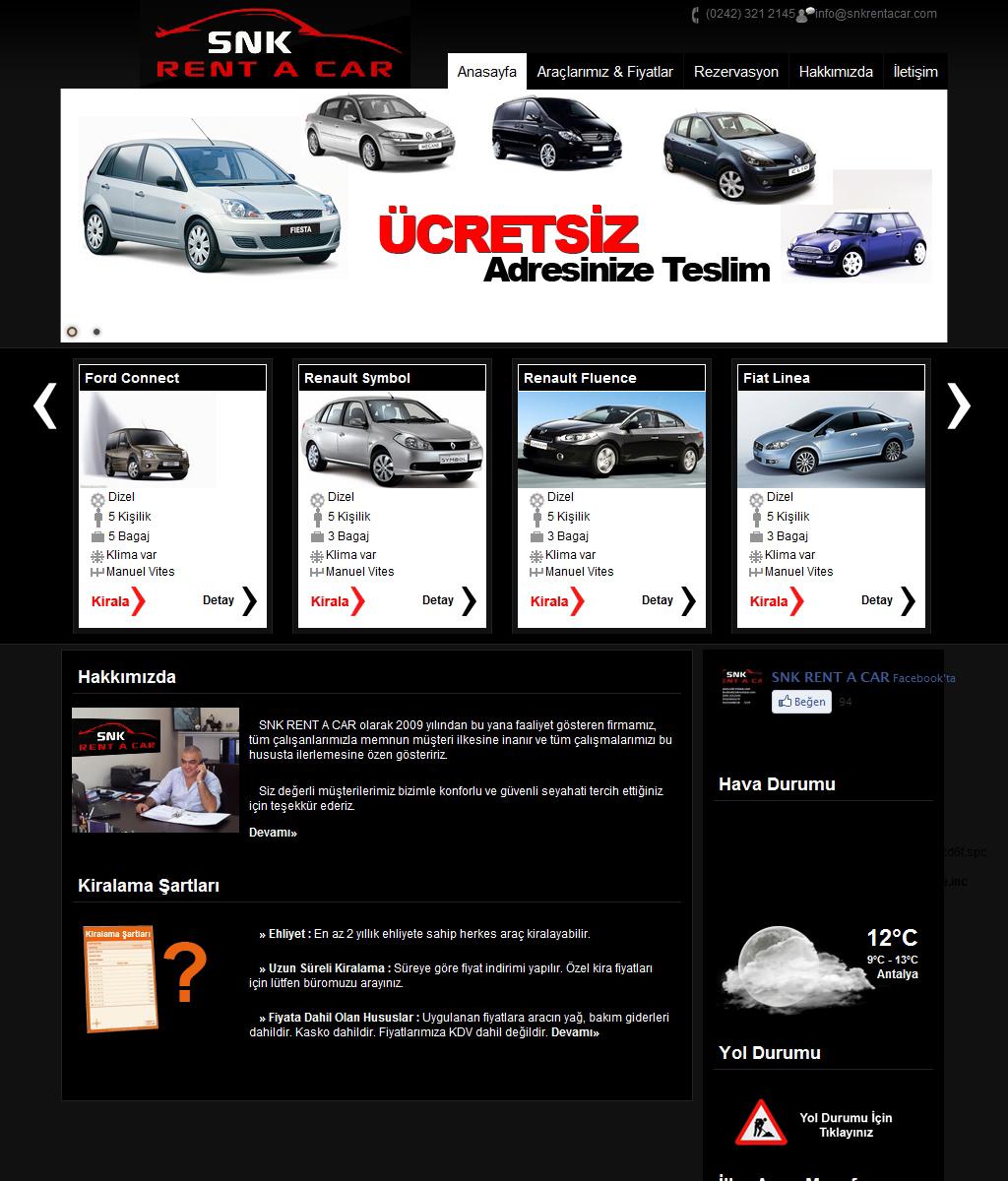 Snk Rent A Car Antalya Web Tasarım