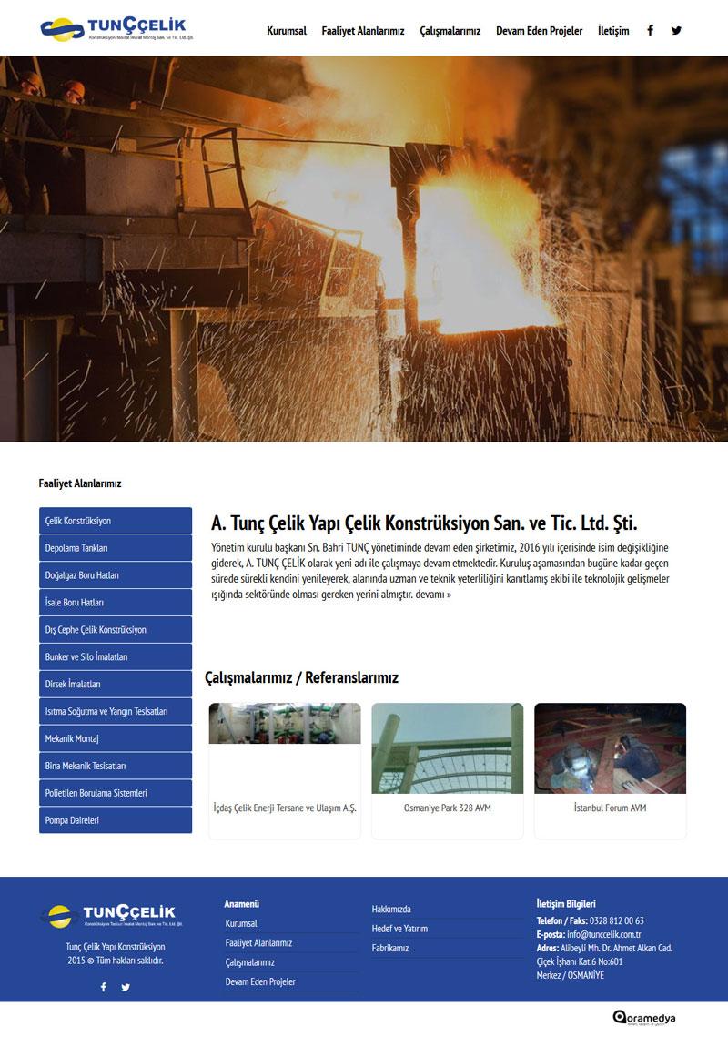 Tunç Çelik Yapı Çelik Konstrüksiyon Osmaniye Web Tasarımı