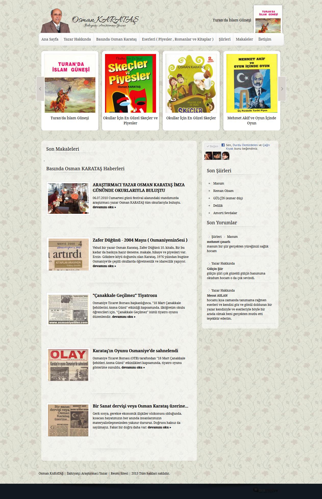 Osman KARATAŞ Yazarlar için Web Portalı Web Tasarımı