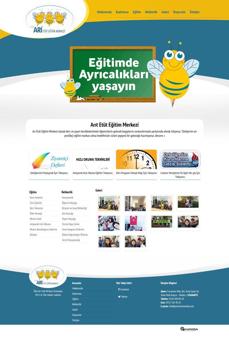 Özel Arı Etüt Merkezi Osmaniye Web Tasarımı