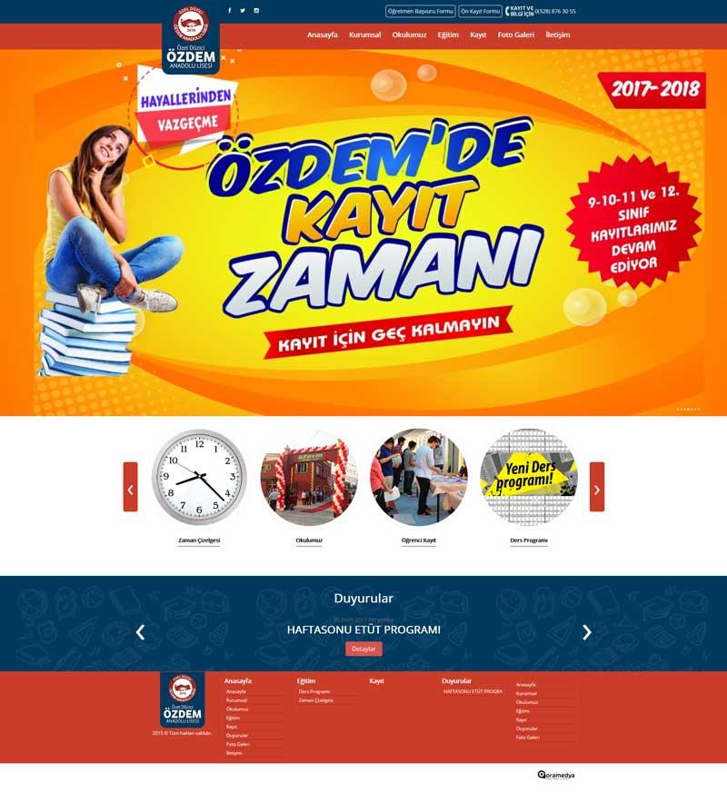 Özel Düziçi Özdem Anadolu Lisesi Osmaniye Web Sitesi Tasarımı