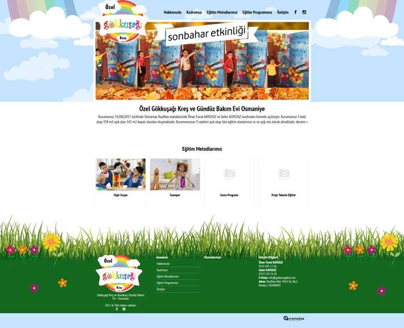 Özel Gökkuşağı Kreş ve Gündüz Bakım Evi Osmaniye Web Sitesi Tasarımı