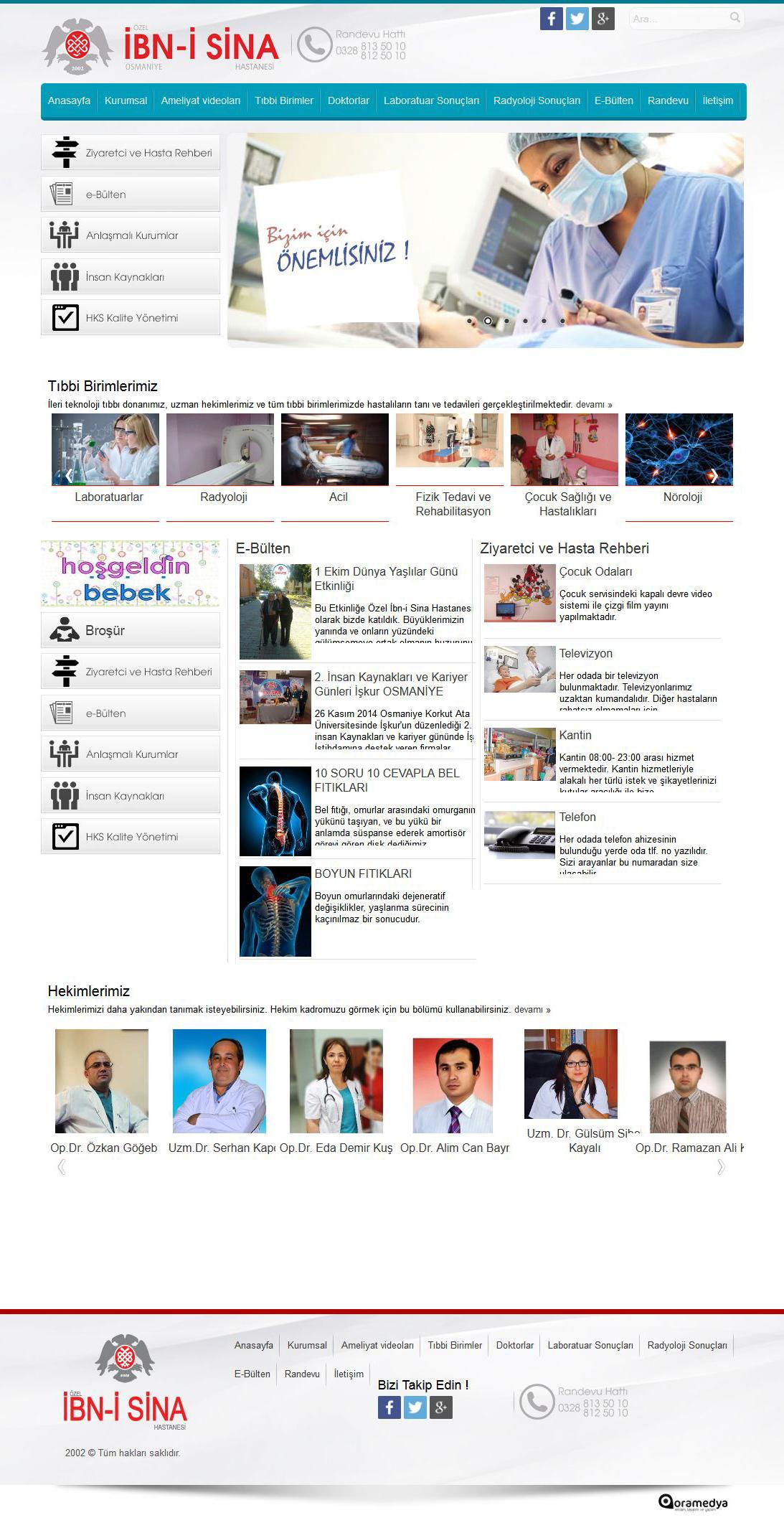 Özel İbn-i Sina Hastanesi Osmaniye Web Tasarım
