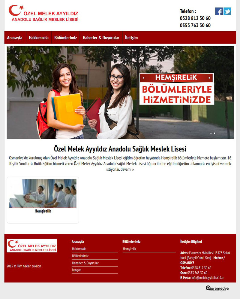 Özel Melek Ayyıldız Anadolu Sağlık Meslek Lisesi Osmaniye Web Tasarım