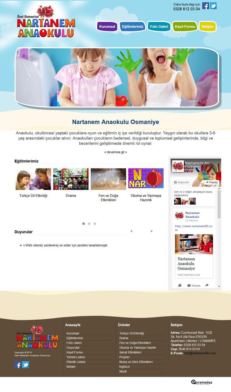 Özel Nartanem Anaokulu Osmaniye Web Tasarım