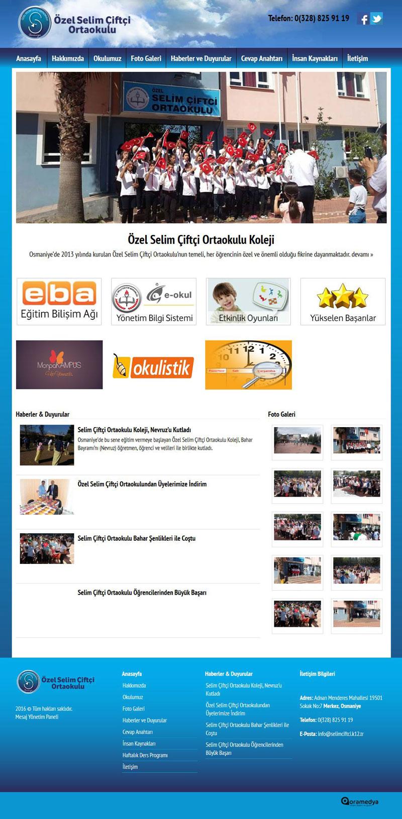 Selim Çiftçi Ortaokulu Osmaniye Web Tasarım